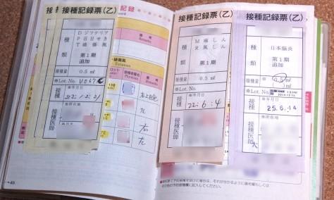 母子手帳の健診結果や予防接種歴の記入欄