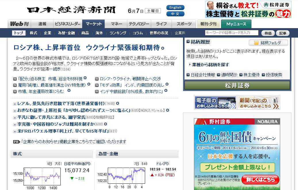 日本経済新聞の投資・金融コーナー