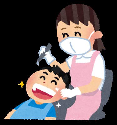 歯医者でフッ素を塗ってもらう子ども