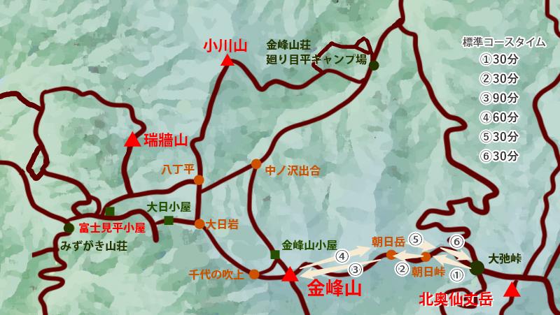 金峰山トレッキングマップ