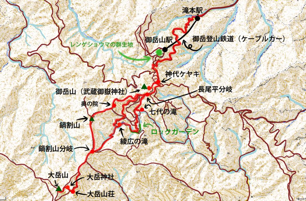 御岳山、大岳山のコースマップ