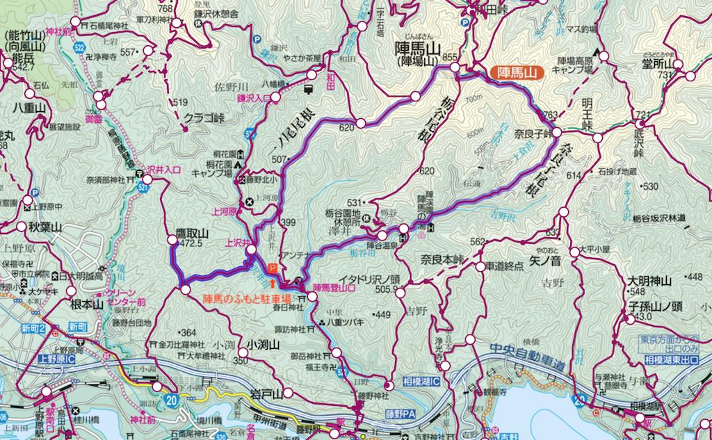 鷹取山から陣馬山、登山コース