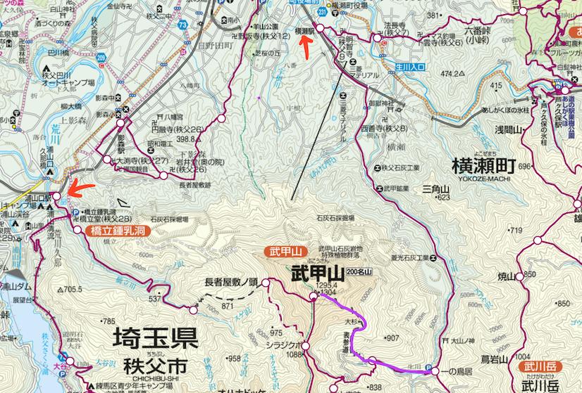 武甲山、登山ルート地図
